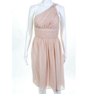 DM Donna Morgan Pink Beige One Shoulder Gown
